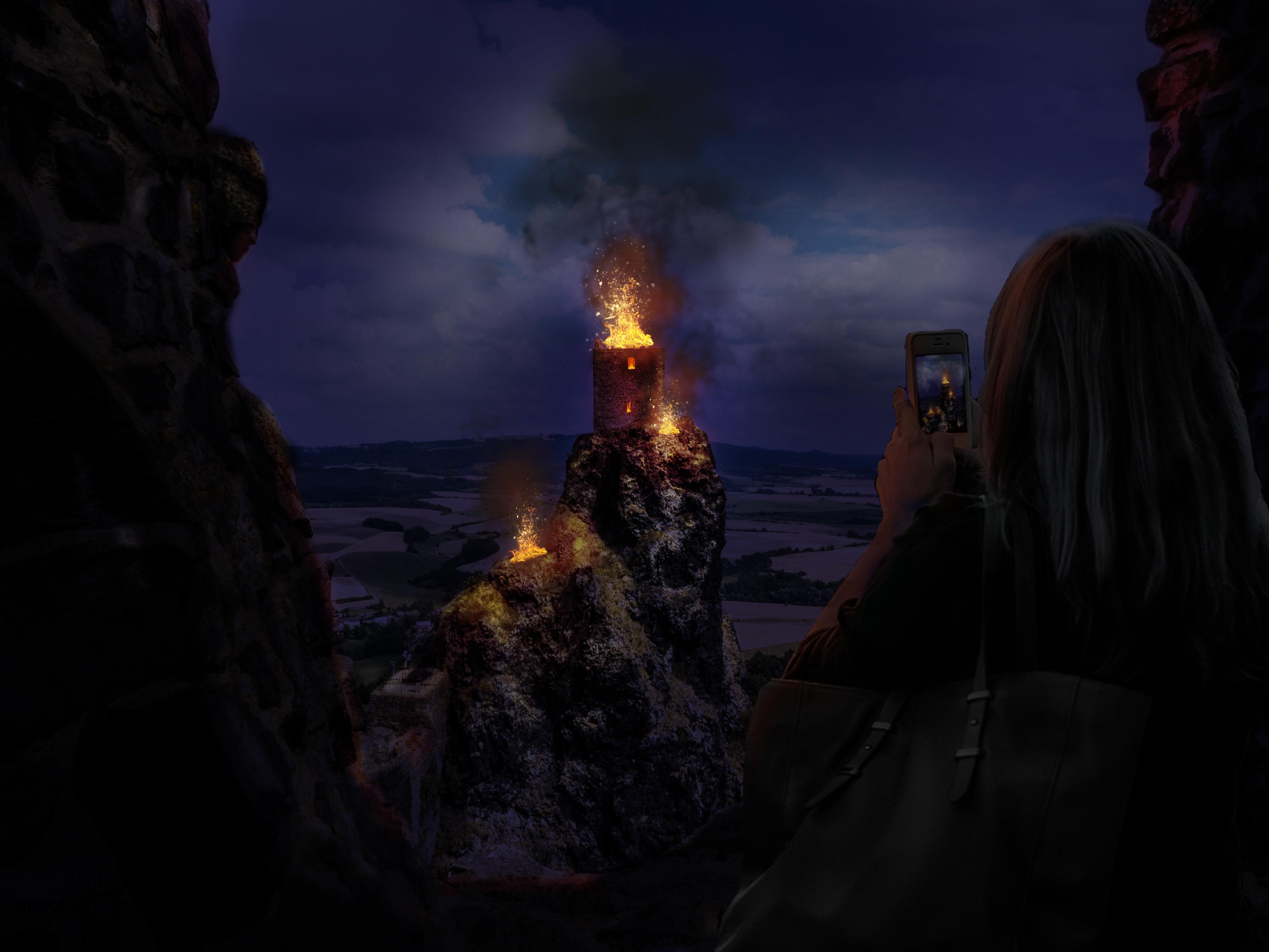 hořící trosky